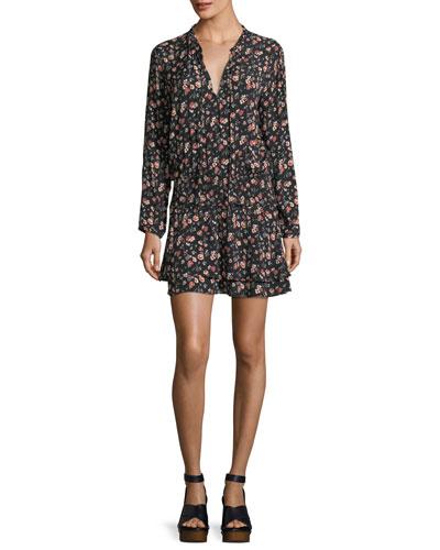 Romee Split-Neck Floral-Print Short Dress