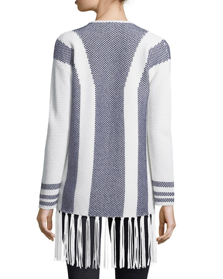 Cashmere Intarsia Open-Front Cardigan