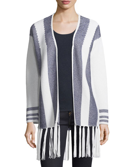 Neiman Marcus Cashmere Collection Cashmere Intarsia Open-Front