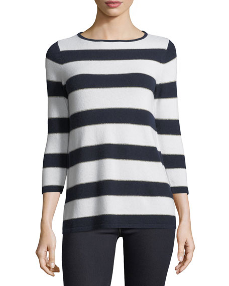 Neiman Marcus Cashmere Collection Cashmere-Blend Metallic Striped