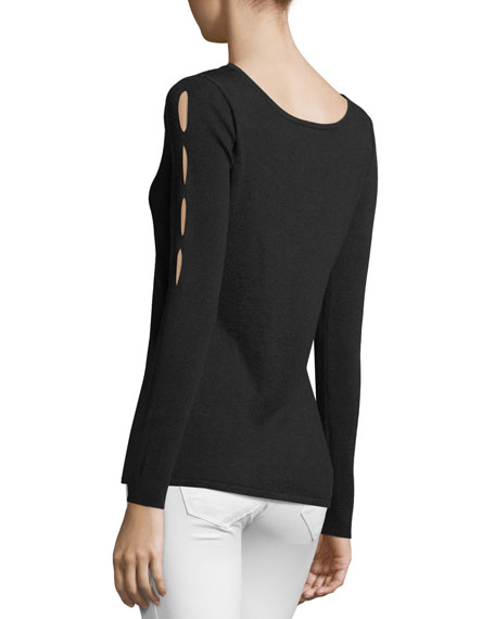 Neiman Marcus Cashmere Collection Silk-Cashmere Blend Sweater