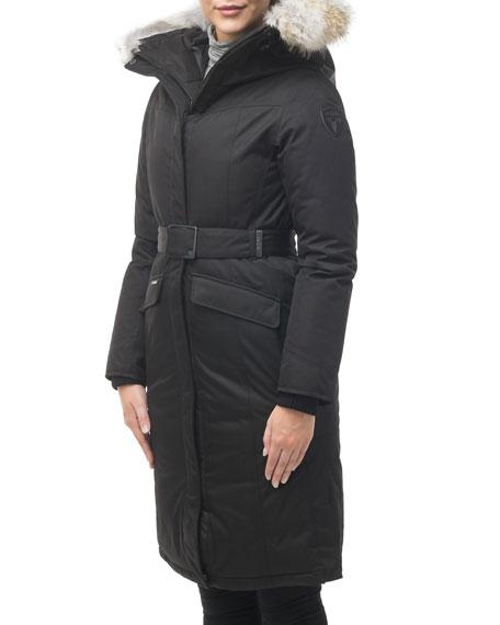 Morgan Fur-Trim Parka Coat