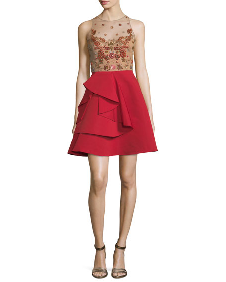 Marchesa Notte Sleeveless Embellished Draped Faille Cocktail