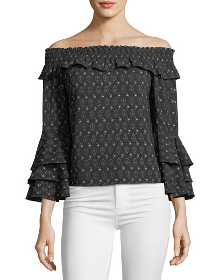 MISA Los Angeles Saskiya Off-the-Shoulder Printed Top