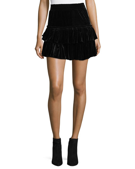 MISA Los Angeles Luiza Tiered Velvet Mini Skirt