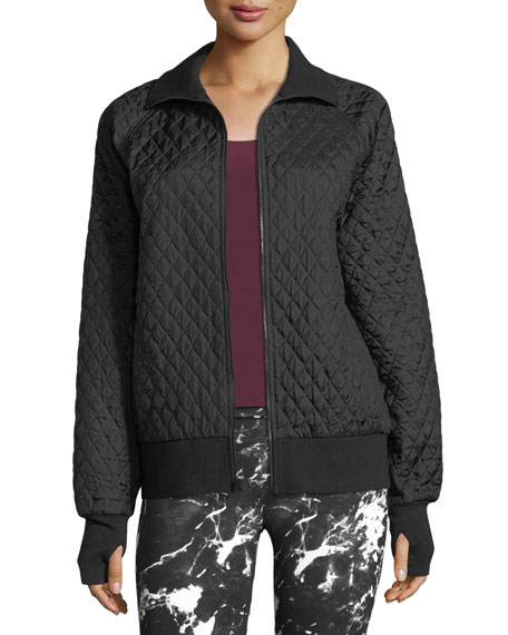 Zip-Front Quilted Bomber Jacket