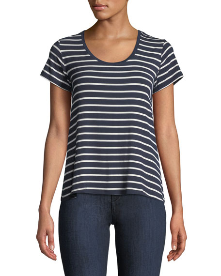 Soft-Touch Scoop-Neck Short-Sleeve Striped Top