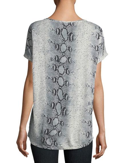 V-Neck Short-Sleeve Python-Printed Silk Tee