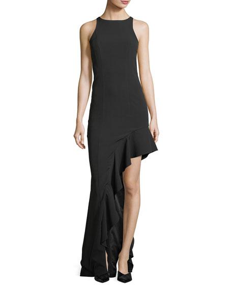Stella Sleeveless Asymmetric Flounce Evening Gown