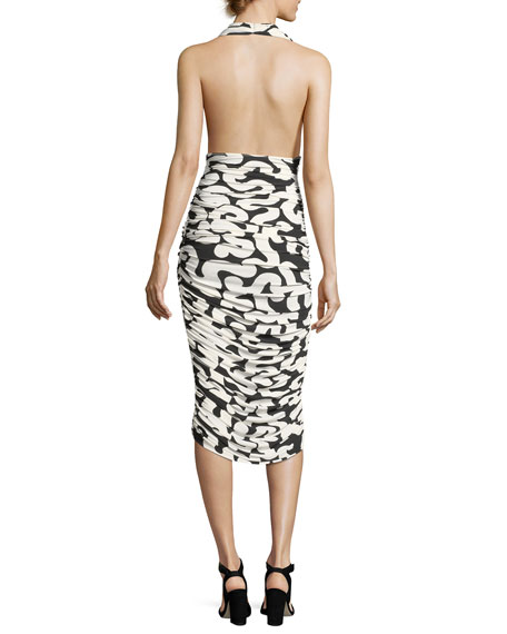 Halter Printed Ruched Cocktail Dress