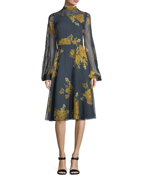 Sachin & Babi Velir Mock-Neck Floral-Print Georgette Dress