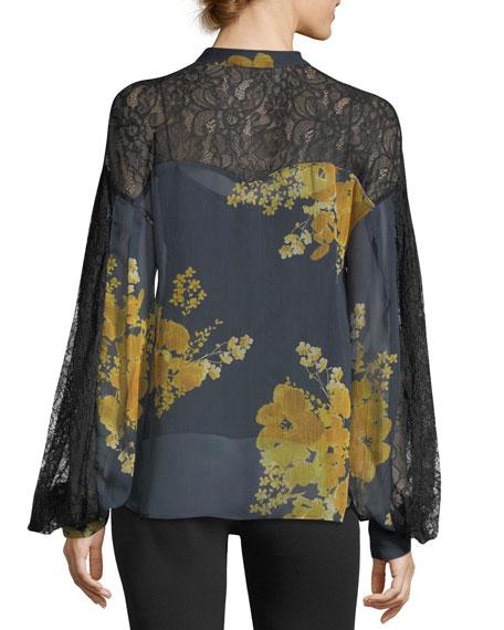 Vaja Tie-Neck Floral-Print Blouse w/ Lace
