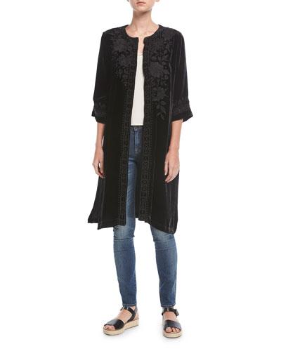 Magdalene Velvet Midi Coat