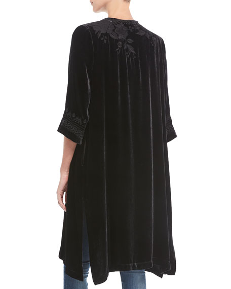 Magdalene Velvet Midi Coat, Plus Size