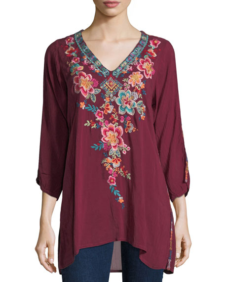 Roma V-Neck Embroidered Long Tunic, Plus Size
