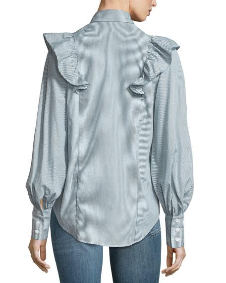 Lowry Ruffled Blouson-Sleeve Striped Poplin Top