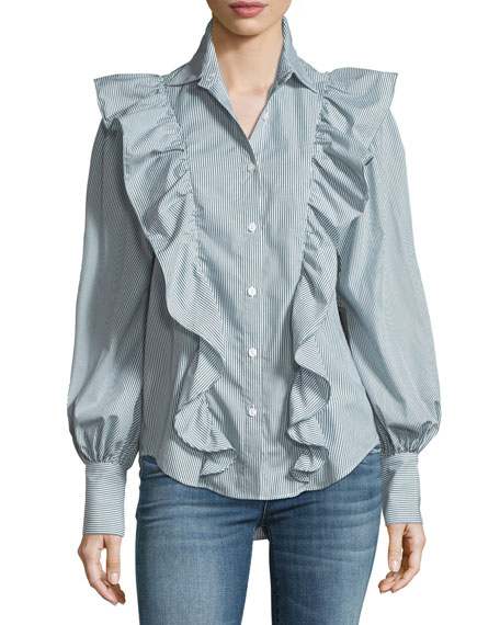 Lowry Ruffled Blouson-Sleeve Striped Poplin Top