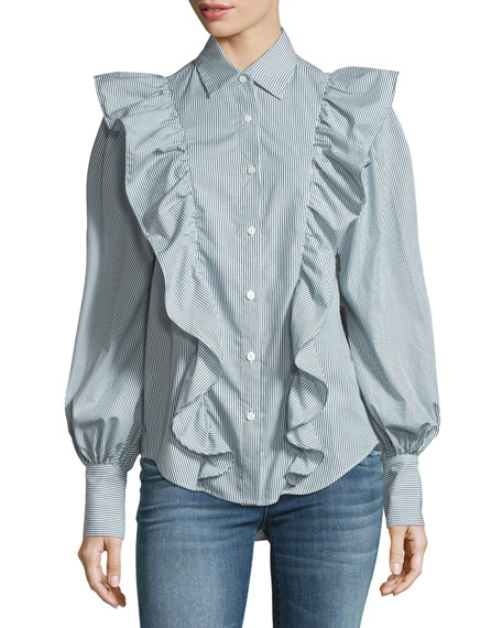 Petersyn Lowry Ruffled Blouson-Sleeve Striped Poplin Top