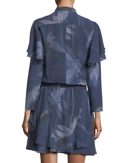 Flutter-Detail Floral-Print Silk Dress