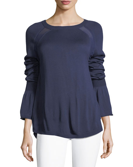 Bell-Cuff Sweater with Georgette Insets