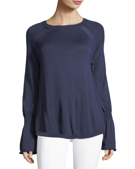Halston Heritage Bell-Cuff Sweater with Georgette Insets
