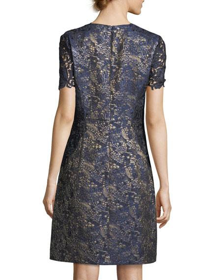Galina Metallic Jacquard Shift Dress
