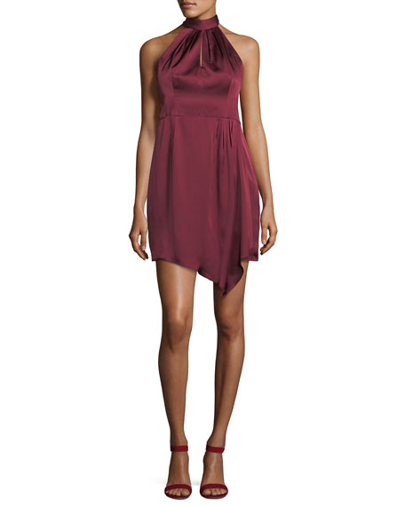 Nanette Lepore Satin Sleeveless Sheath Halter Dress