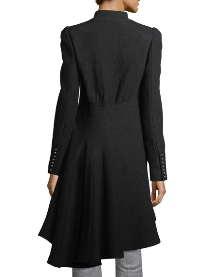 Beaux Arts Zip-front Asymmetric-Hem Wool Coat