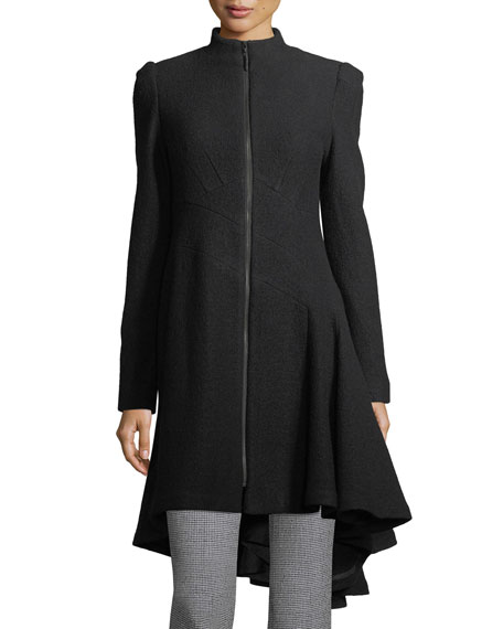 Nanette Lepore Beaux Arts Zip-front Asymmetric-Hem Wool Coat