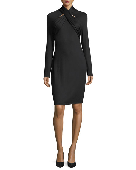 Elie Tahari Cavalari Twist-Neck Long-Sleeve Dress
