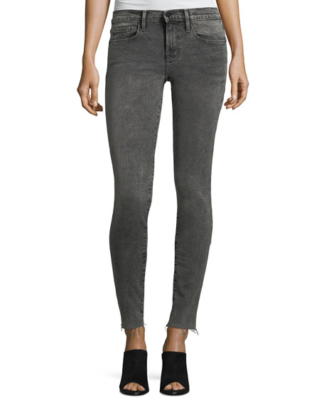 FRAME Le Skinny Raw-Edge Faded Jeans