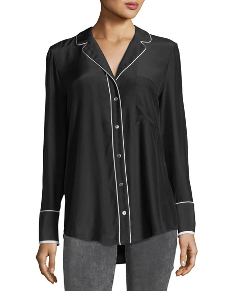 FRAME Button-Front Silk Pajama Blouse
