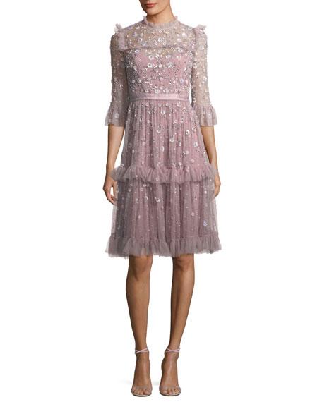 Twilight High-Neck 3/4 Sleeve Embellished Cocktail Dress