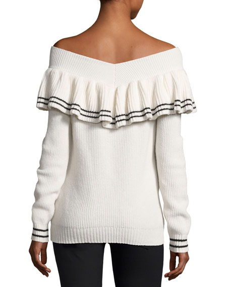 Image 2 of 2: Striped Off-the-Shoulder Rib-Knit Sweater