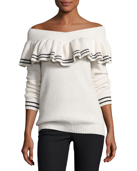 Image 1 of 2: Striped Off-the-Shoulder Rib-Knit Sweater