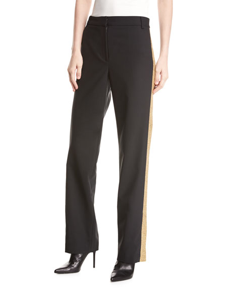 Wool-Blend Embellished Tux Straight-Leg Pants
