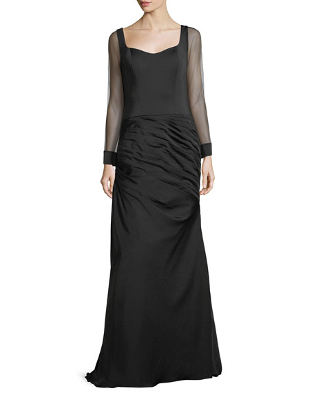Illusion Sleeve Jersey Evening Gown w/ Ruching