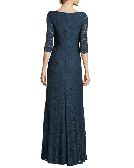 Half-Sleeve Sweetheart Lace Evening Gown