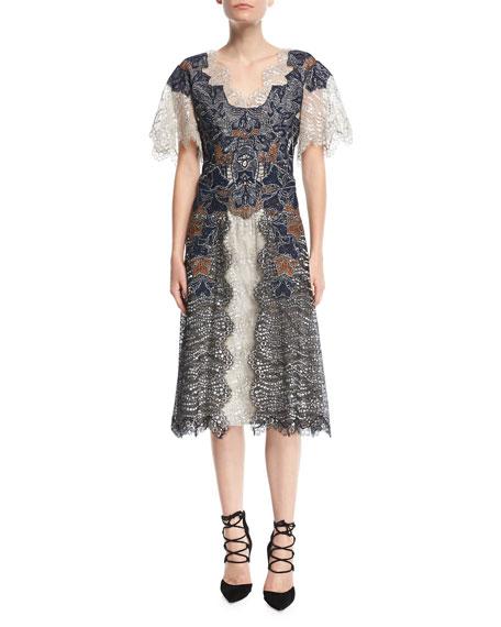 Jonathan Simkhai Dimensional Lurex® Flutter-Sleeve Lace Midi