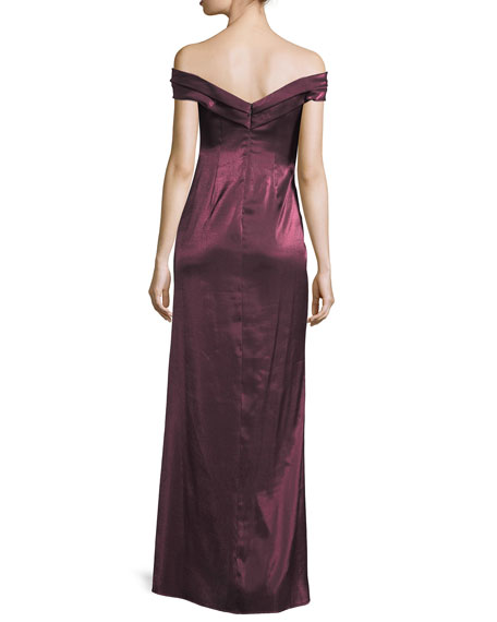 Banded Satin Off-the-Shoulder Evening Gown