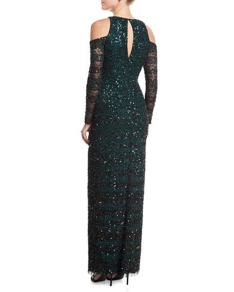 Beaded Embellished Cold-Shoulder Column Evening Gown