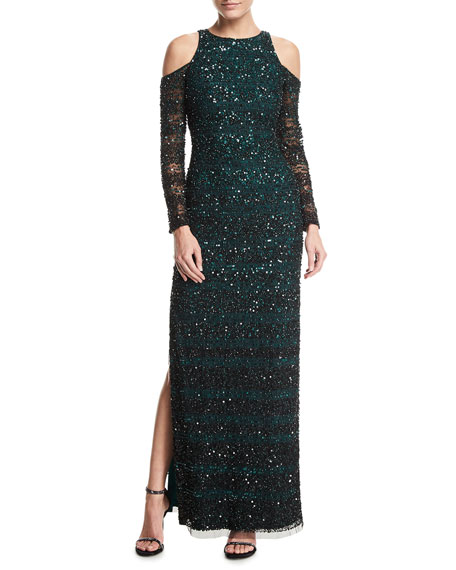 Aidan Mattox Beaded Embellished Cold-Shoulder Column Evening Gown