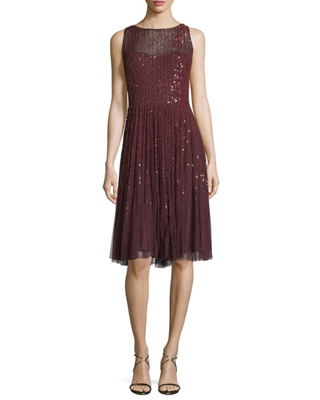 Aidan Mattox Sleeveless Embellished A-Line Cocktail Dress