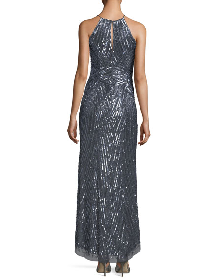 Halter-Neck Sleeveless Sequined Evening Gown