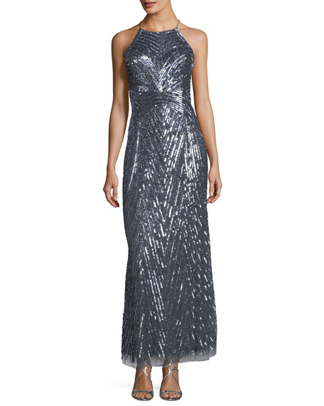 Aidan Mattox Halter-Neck Sleeveless Sequined Evening Gown