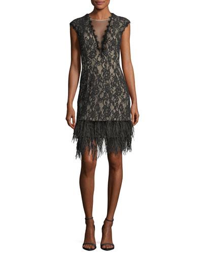 V-Neck Cap-Sleeve Lace Cocktail Dress w/ Feather Hem
