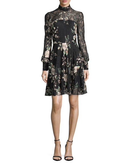 Zarina Mock-Neck Embroidered Lace Cocktail Dress