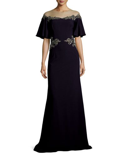 Illusion Off-the-Shoulder Column Evening Gown w/ Beaded Embellishments