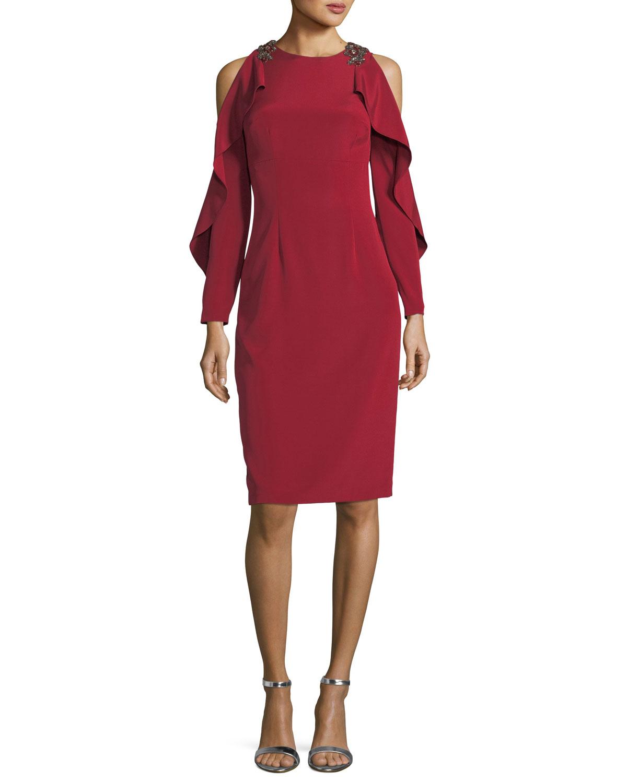 David Meister Split Ruffle Long-Sleeve Embellished Cocktail Dress ...
