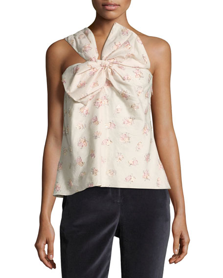 ONE-SHOULDER FLORAL-JACQUARD BOW TANK